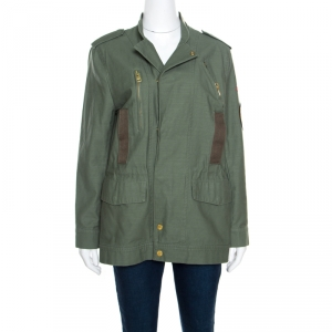 Zadig and Voltaire Military Green Applique Detail Karma Spi Jacket M