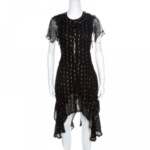 Zadig and Voltaire Noir Crepe Lurex Detail Ruffled Rool Shiny Shirt Dress S