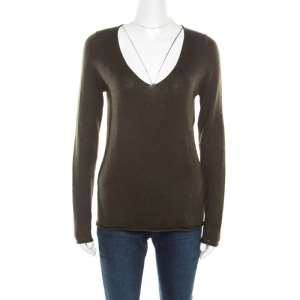 Zadig and Voltaire Green Wool and Cashmere Sequined Elbow Patch Detail Nosfa Sweater S