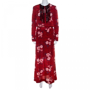 Zadig and Voltaire Red Floral Print Silk Remus Long Pensees Dress XS