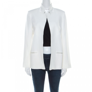 Zadig and Voltaire Deluxe White Crepe Open Front Volly Blazer M