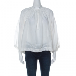 Zadig and Voltaire White Cotton Blend Lace Trim Trone Deluxe Blouse XS