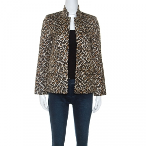 Zadig and Voltaire Beige Leopard Print Jacquard Volly Leo Blazer S