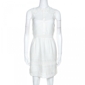 Zadig and Voltaire White Cotton Lace Detail Sleeveless Dress S - used