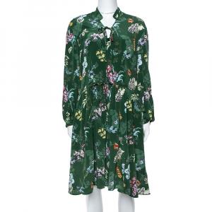 Zadig & Voltaire Green Resist Season Print Silk Long Sleeve Dress M - used