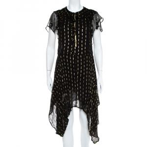 Zadig&Voltaire Noir Crepe Lurex Detail Rool Shiny Asymmetric Hem Dress M - used