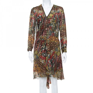 Zadig & Voltaire Green Printed Fil Coupe Faux Wrap Asymmetric Hem Roumi Deluxe Dress S - used
