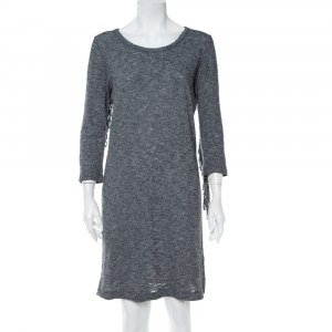 Zadig & Voltaire Grey Wool Winter Fringes Mini Dress S - used