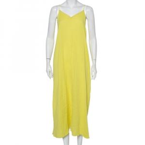 Zadig & Voltaire Yellow Cotton Open Back Ralia Maxi Dress M - used