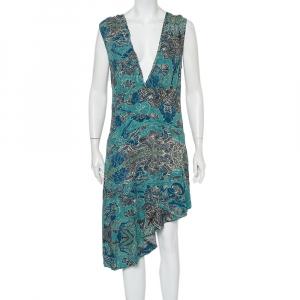 Zadig & Voltaire Blue Root Print Asymmetrical Hem Midi Dress S - used