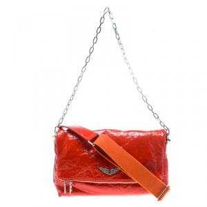 Zadig and Voltaire Creased Patent Leather Large Rock Clutch