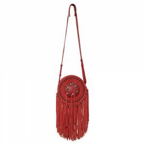 Zadig & Voltaire Camine Red Suede Bamboo Hippie Crossbody Bag