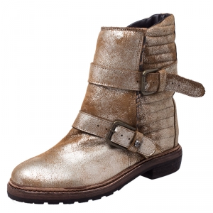 Zadig and Voltaire Gold/Bronze Metallic Faded Effect Leather and Python Embossed Buckle Ankle Boots Size 38
