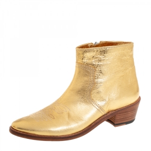 Zadig And Voltaire Metallic Gold Leather Pilar Ankle Boots Size 40 - used