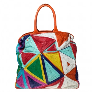 Zagliani Multicolor Woven Leather Shopper Tote