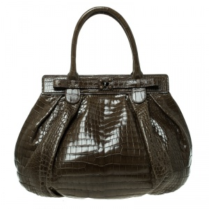 Zagliani Olive Green Crocodile Leather Puffy Hobo