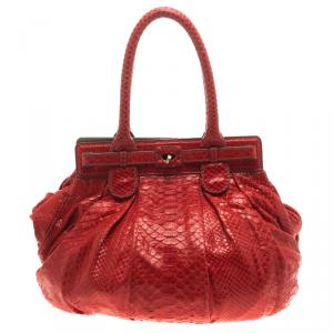 Zagliani Red Python Puffy Tote