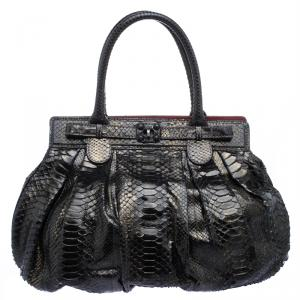 Zagliani Metallic Black/Gold Python Puffy Hobo