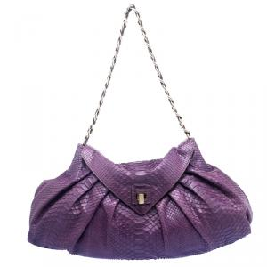 Zagliani Purple Python Envelope Chain Hobo