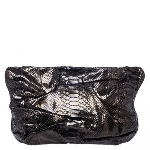 Zagliani Metallic Python Leather Oversized Clutch