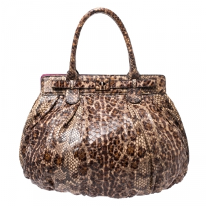Zagliani Brown/Beige Python Puffy Hobo