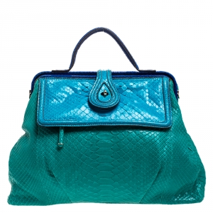 Zagliani Blue/Green Python Medium Jamila Bag