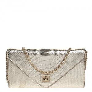 Zagliani Gold Python Envelope Flap Chain Shoulder Bag