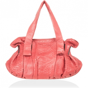 Zagliani Coral Pink Python Pleated Bag