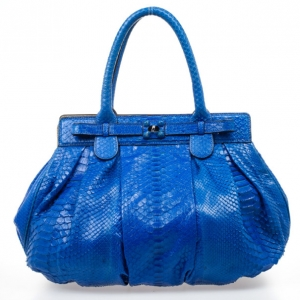 Zagliani Metallic Python Large Blue Puffy Handbag