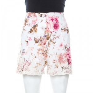 Zimmermann White Floral Print Voile Embroidery Detail Eden Shorts M