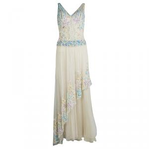 Zuhair Murad Haute Couture Beige Contrast Embellished Sleeveless Gown used