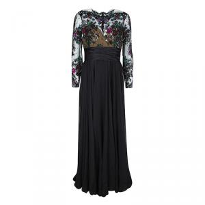 Zuhair Murad Black Lace Embellished Detail Ruched Long Sleeve Gown L