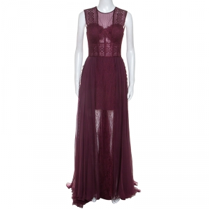 Zuhair Murad Burgundy Silk Blend Lace Bodice Evening Gown M used