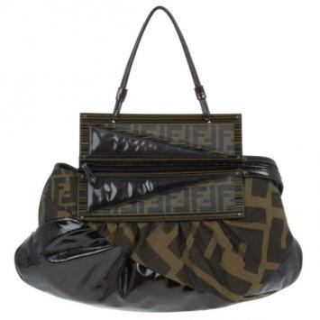 d2dec0d895fe Fendi Patent Leather and Zucca Print Mix Hobo
