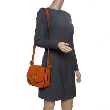 40120340545 Michael Michael Kors Orange Leather Medium Maxine Saddle Crossbody Bag ...