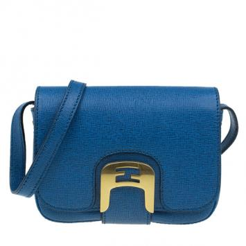 100d0e9cde98 Fendi Blue Crosshatched Leather Mini Chameleon Crossbody