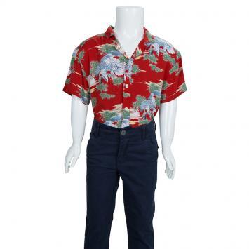 de3e2999 Gucci Multicolor Eagle Print Short Sleeve Buttondown Shirt 8 Yrs ...