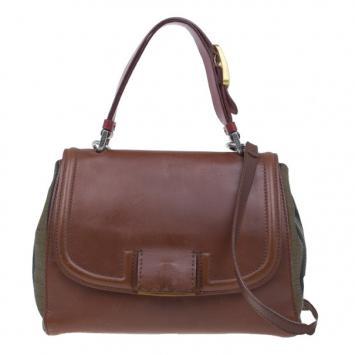ad5d35288e39 Fendi Brown Leather and Canvas Silvana Shoulder Bag ...