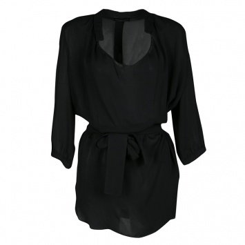 8683cdf74fbb4b Emporio Armani Beige Contrast Trim Detail Long Sleeve Silk Blouse S