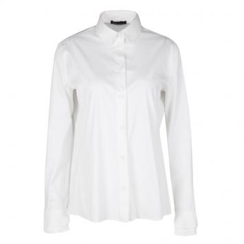 e941daa9f29ff0 Emporio Armani White Frill Cuff Detail Long Sleeve Shirt L
