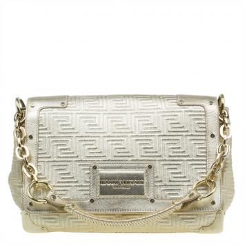 2e1b853349f Versace Gold Embossed Leather Flap Shoulder Bag ...