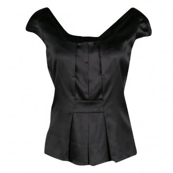 2611dd646c9dfa Emporio Armani Black Stretch Silk Satin Cap Sleeve Top S