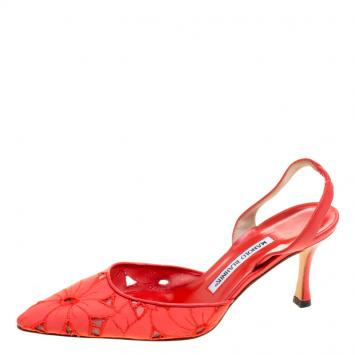 0435e5b1016 Manolo Blahnik Coral Red Floral Embroidered Fabric Carolyne ...