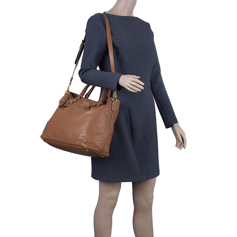 9ad1581c906f Buy Prada Tan Soft Calf Leather Tote 10269 at best price | TLC