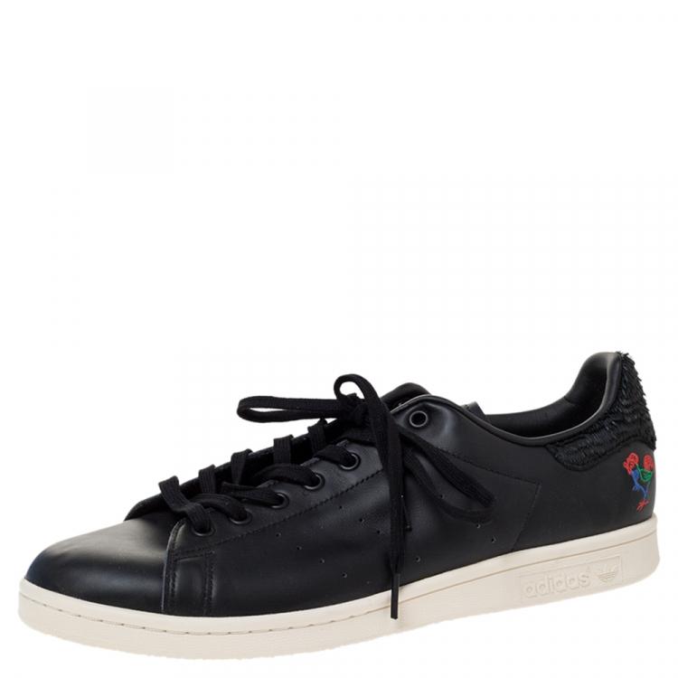 Aislante Doméstico Bien educado  Adidas Stan Smith CNY Black Leather Year Of The Rooster Sneaker Size 46  Adidas | TLC