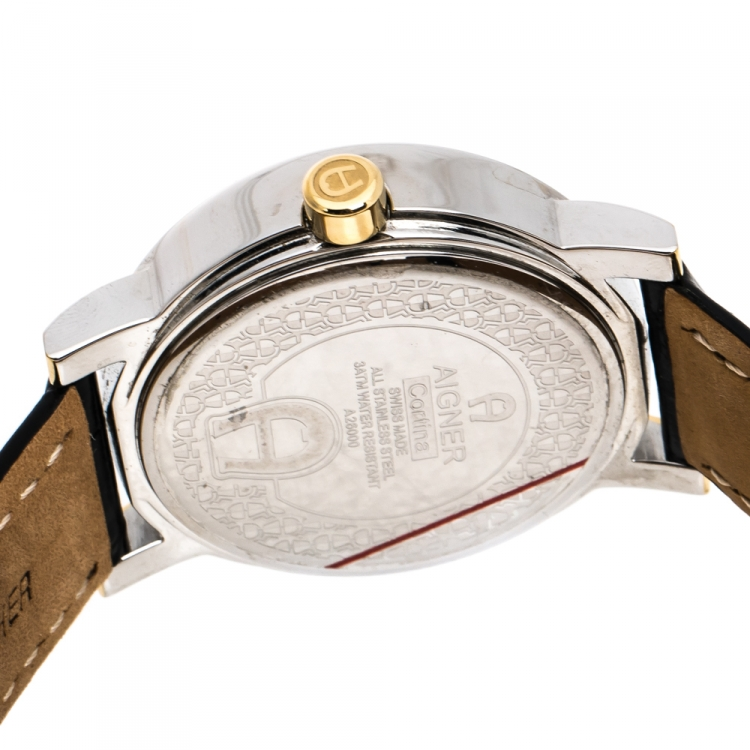 Aigner Silver White Two-Tone Stainless Steel Cortina A26000 Men's Wristwatch 41 mm