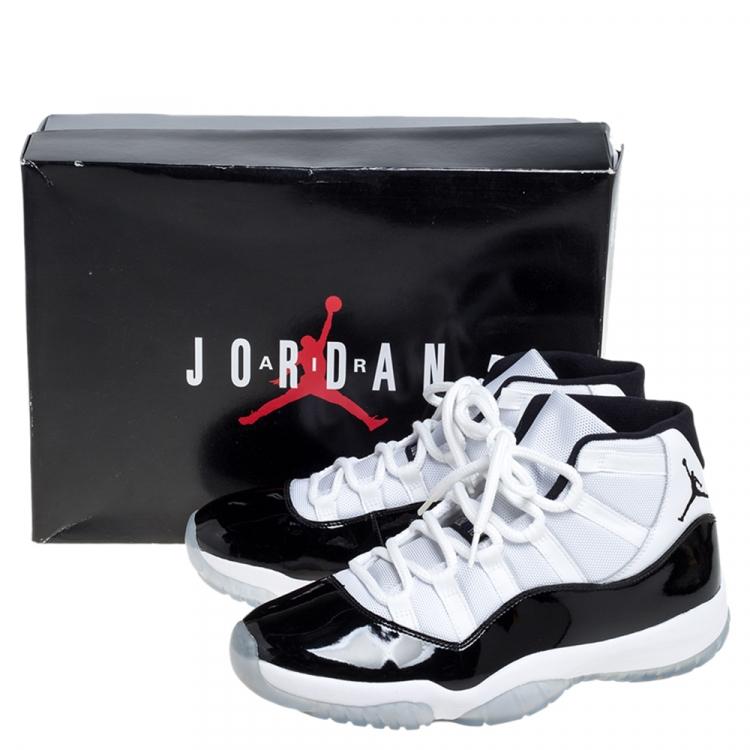 Air Jordan Black/White Fabric and Patent Leather Jordan 11 Retro ...