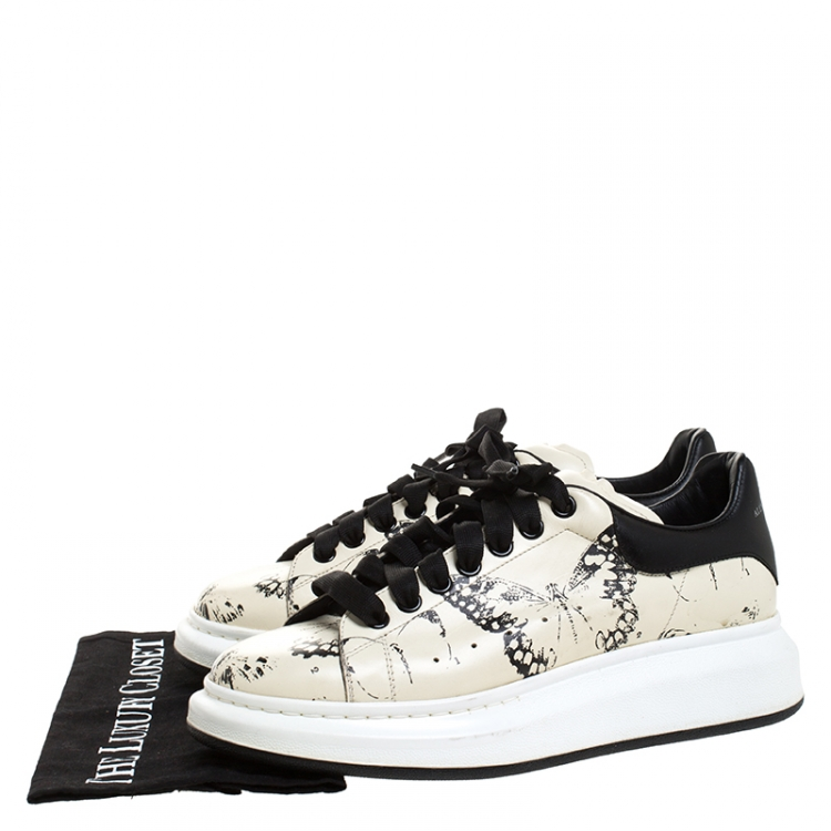 Alexander McQueen Cream/Black Butterfly Print Leather Lace Up Sneakers Size 42