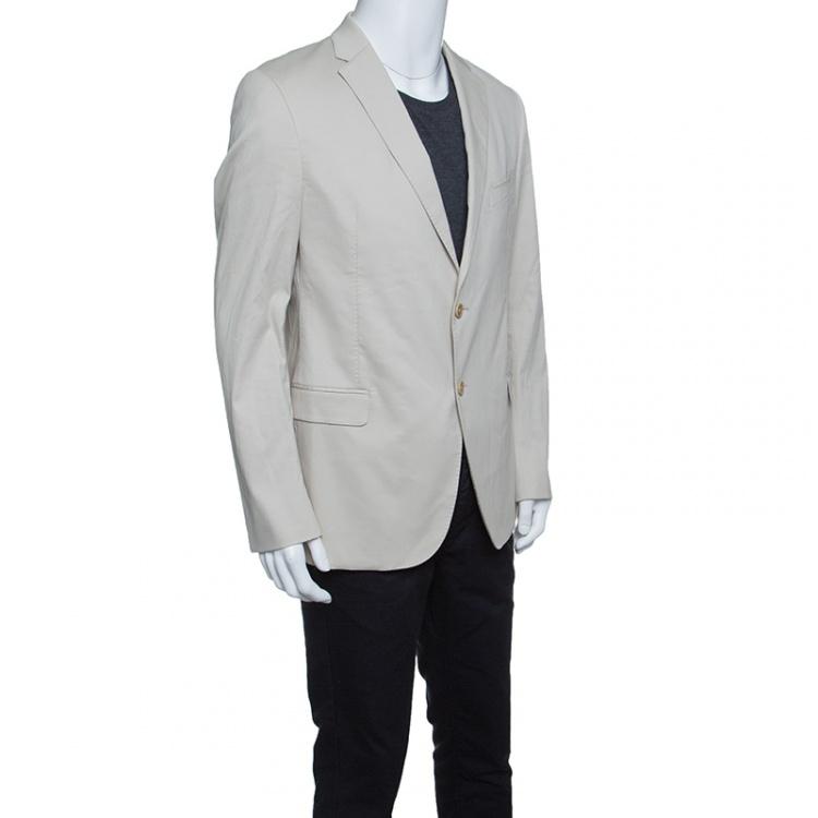 Armani Collezioni Beige Cotton and Silk Tailored Blazer XXL