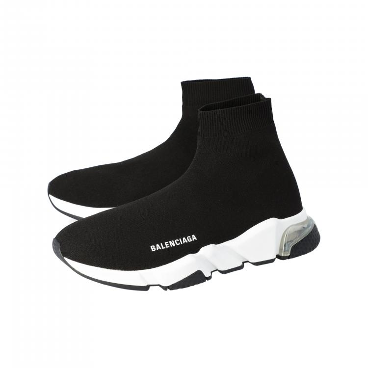 Balenciaga Black Knit Speed Clear Sole Sneakers Size 43